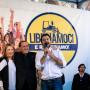Giorgia Meloni, Silvio Berlusconi e Matteo Salvini, leader dei maggiori partiti del centrodestra (Fratelli d'italia, Forza Italia e Lega Nord).