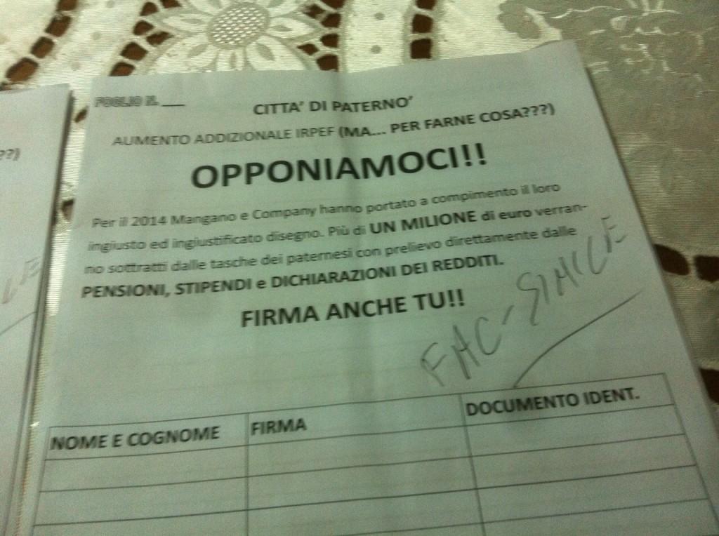 petizione mangano naso firme raccolta firme