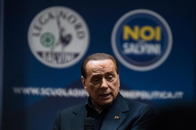 Silvio Berlusconi alla scuola politica della Lega organizzata a Milano