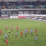 Catania-Akragas 0-1: sotto il diluvio del Massimino i rossazzurri cedono nel derby