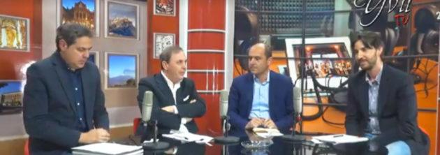 Un'immagine della messa in onda del confronto tv tra i candidati sindaco di Paternò. Da sinistra: Anthony Distefano, Nino Naso, Mauro Mangano e Salvo La Delfa