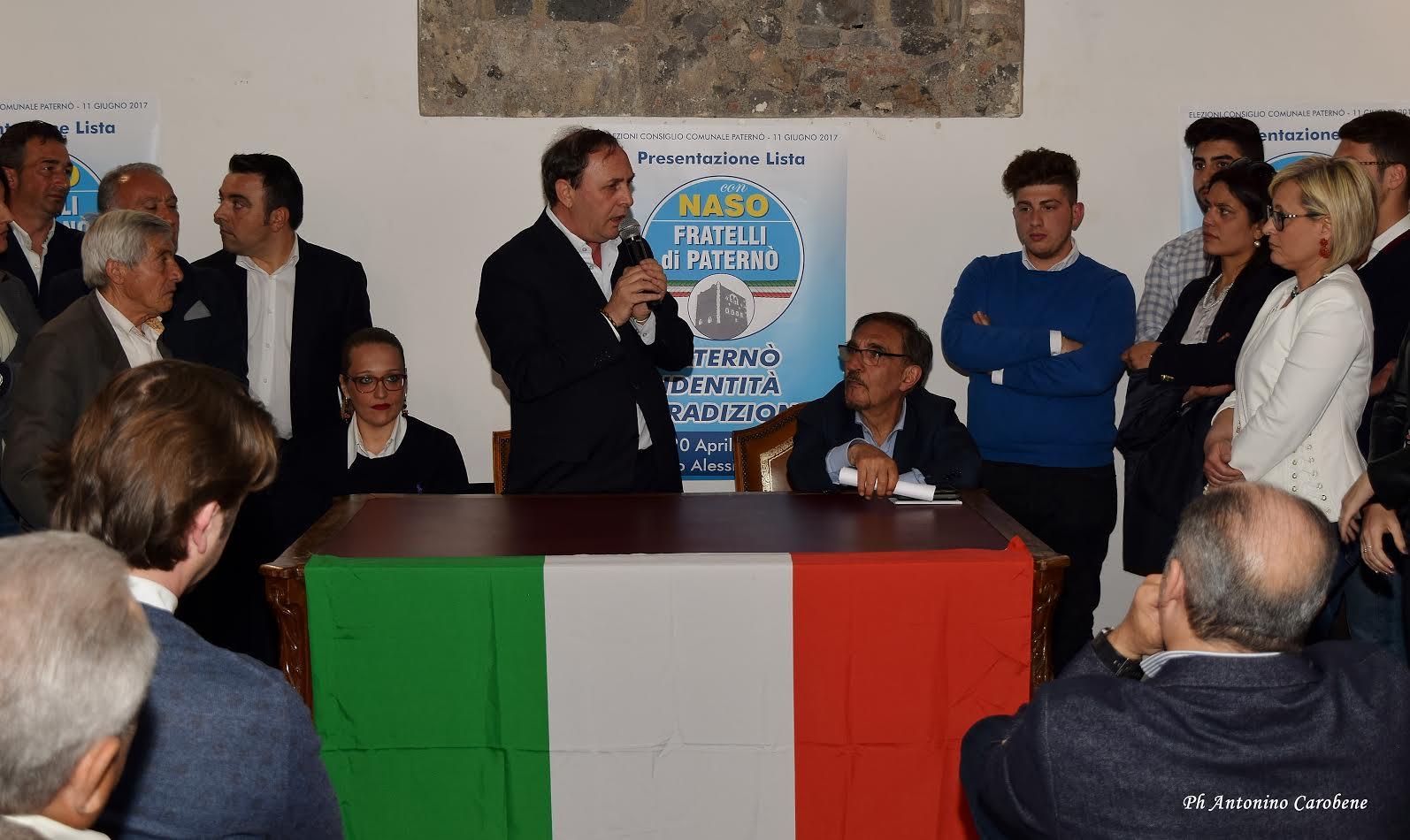 """Un momento della conferenza stampa di ufficializzazione del sostegno di """"Fratelli di Paternò"""" con Nino Naso e Ignazio La Russa"""
