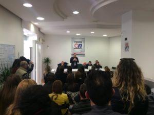 Un momento della conferenza stampa di ieri.