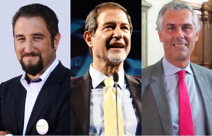 Ferrandelli, Musumeci e Micari, i tre maggiori candidati governatore in Sicilia.