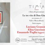 """Catania. Presentazione libro di Montalbano """"Le tre vite di Don Giuseppe"""""""