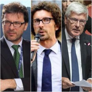 Giorgetti (Lega), Toninelli (M5S) e Romani (Forza Italia)