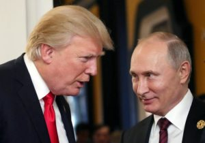 epa06382774 YEARENDER 2017 NOVEMBER Russian President Vladimir Putin (R) and US President Donald J. Trump (L) talk at the break of a leader's meeting at the 25th Asia-Pacific Economic Cooperation (APEC) summit in Da Nang, Vietnam, 11 November 2017. The APEC summit brings together world leaders from its 21 member nations and is being hosted for the second time by Vietnam, the first being in 2006.  EPA/MIKHAIL KLIMENTYEV/SPUTNIK/KREMLIN POOL MANDATORY CREDIT