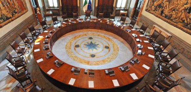 La sala del Consiglio dei Ministri a Palazzo Chigi.