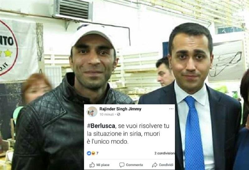 Rajinder Singh, consigliere comunale e capogruppo del M5S a Campagnola Emilia insieme a Luigi Di Maio.