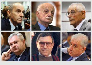 In alto da sin: Massimo Ciancimino, Mario Mori, Antonio Subranni. In basso da sin: Giuseppe De Donno, Leoluca Bagarella, Marcello Dell'Utri.