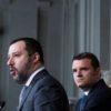 Matteo Salvini con i capigruppo Centinaio e Giorgetti