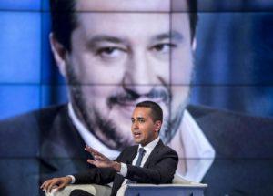 Luigi Di Maio. Sullo sfondo Matteo Salvini