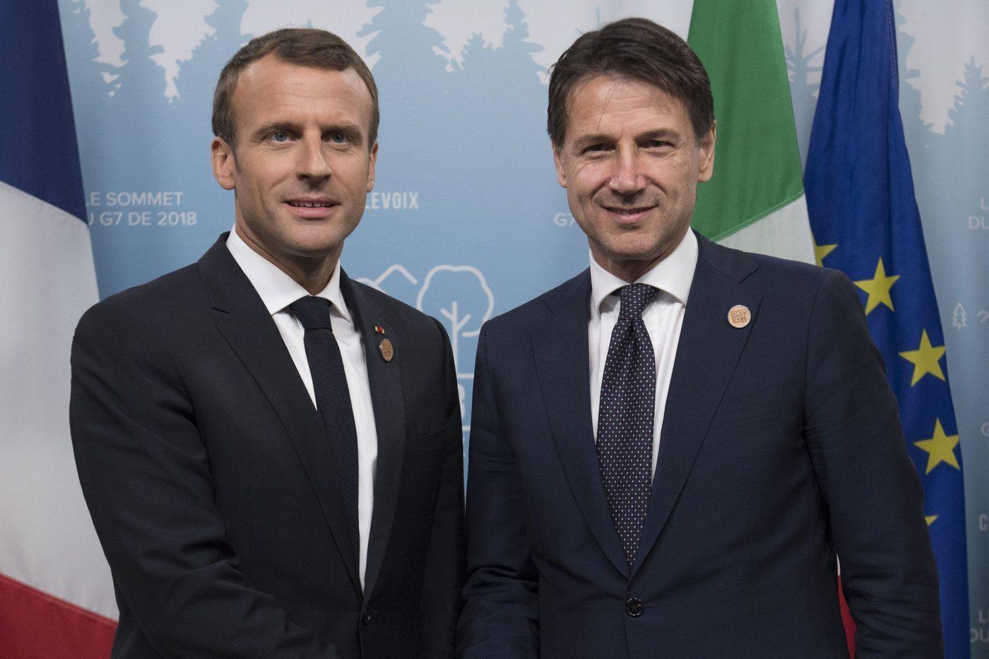 Macron e Conte al G7 in Canada.