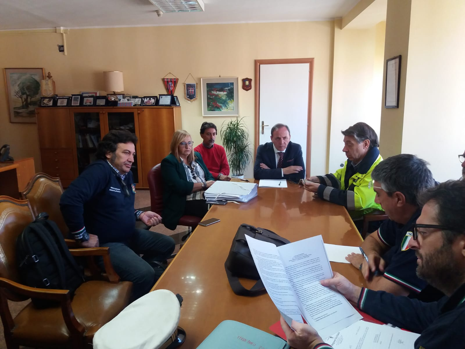 Un'immagine dell'incontro di questa mattina a Palazzo di Città con la Protezione Civile Nazionale