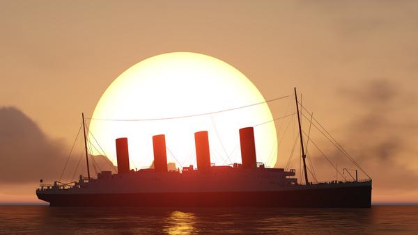 Sagoma in controluce del Titanic, piroscafo affondato nel 1911.