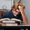 Frustrated student fed up with school work