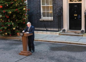 epa08069219 Britain's Prime Minister Boris Johnson delivers a speech at 10 Downing Street in London, Britain, 13 December 2019. Britons went to the polls for a general election on 12 December 2019, which the Conservative Party led by Johnson has won with an overall majority.  EPA/VICKIE FLORES